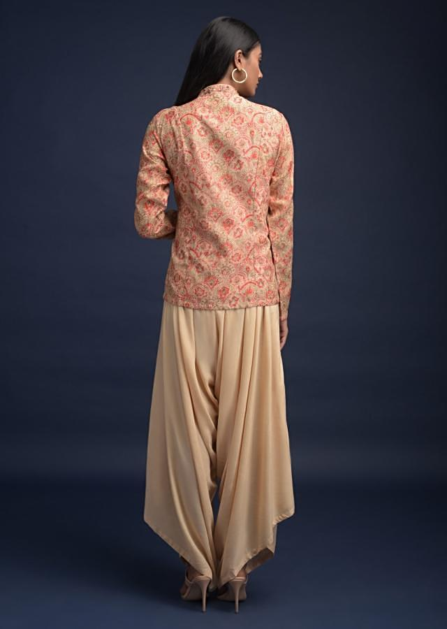 Sand Beige Dhoti Suit In Cotton Paired With A Short Beige Kurti Having Scallop Print Online - Kalki Fashion