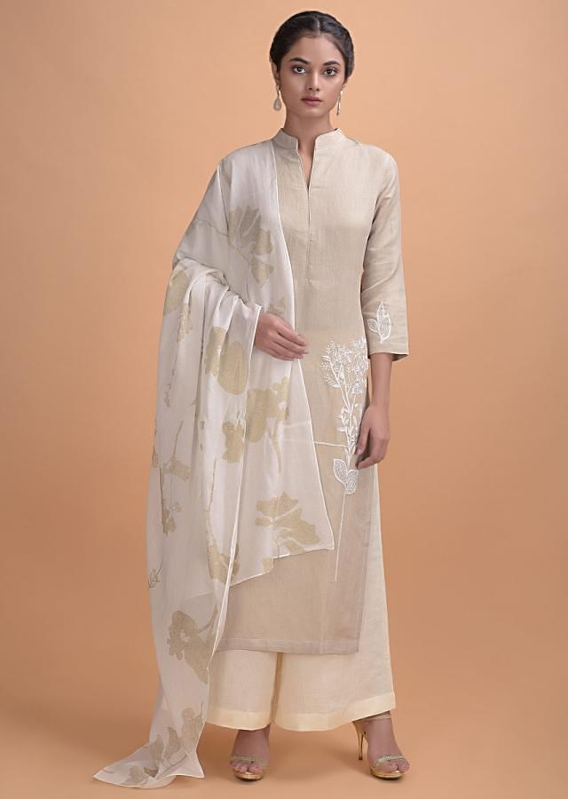 Sand Beige Palazzo Suit In Jute Cotton With Floral Printed Dupatta Online - Kalki Fashion