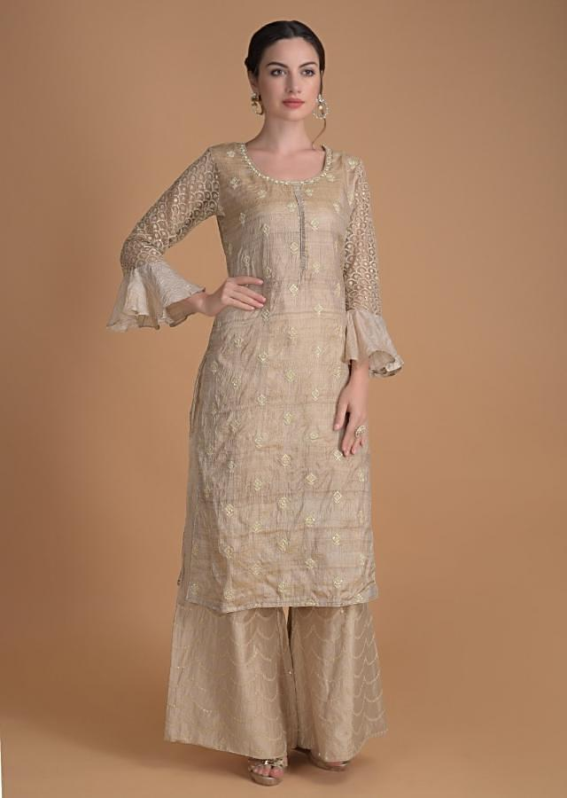 Sand Beige Palazzo Suit In Tussar Silk With Thread And Sequins Work Online - Kalki Fashion