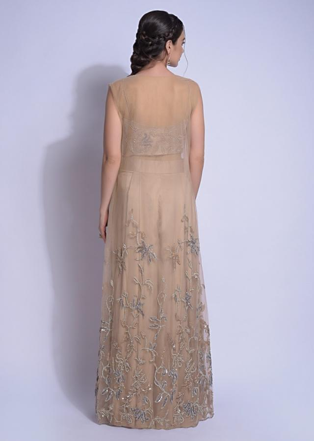 Sand Beige Palazzo Suit With Jaal Embroidery And Sleeveless Net Jacket Online - Kalki Fashion