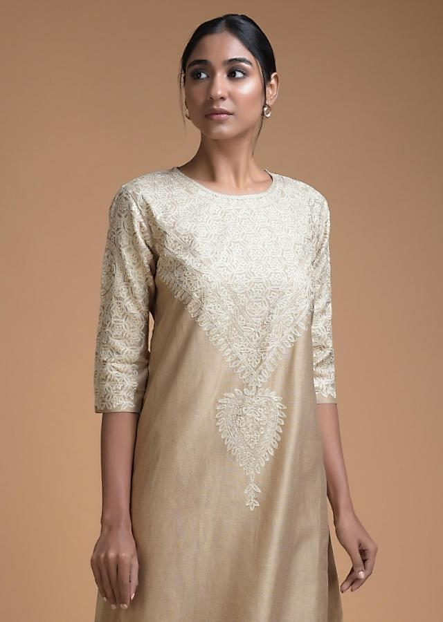 Sand Beige Straight Cut With Thread Embroidery In Floral Jaal On The Neckline Online - Kalki Fashion