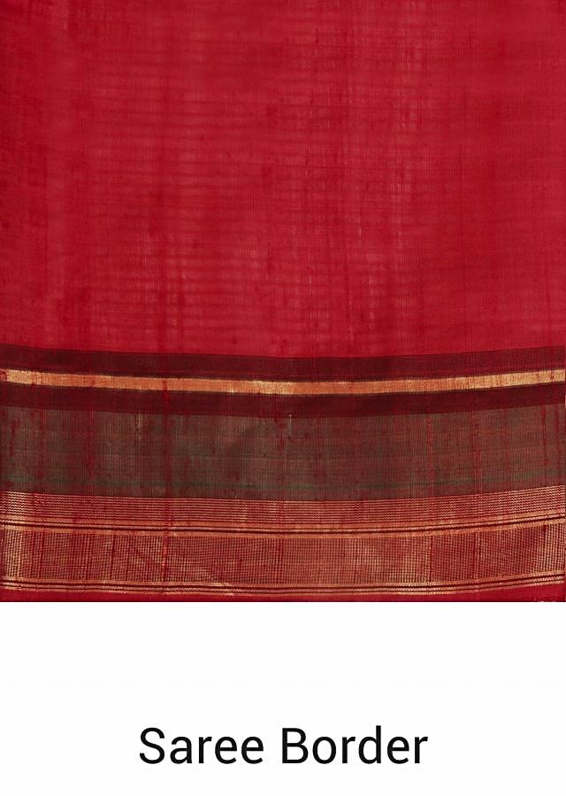 Barn red saree with pallav in bird and floral motif only on Kalki
