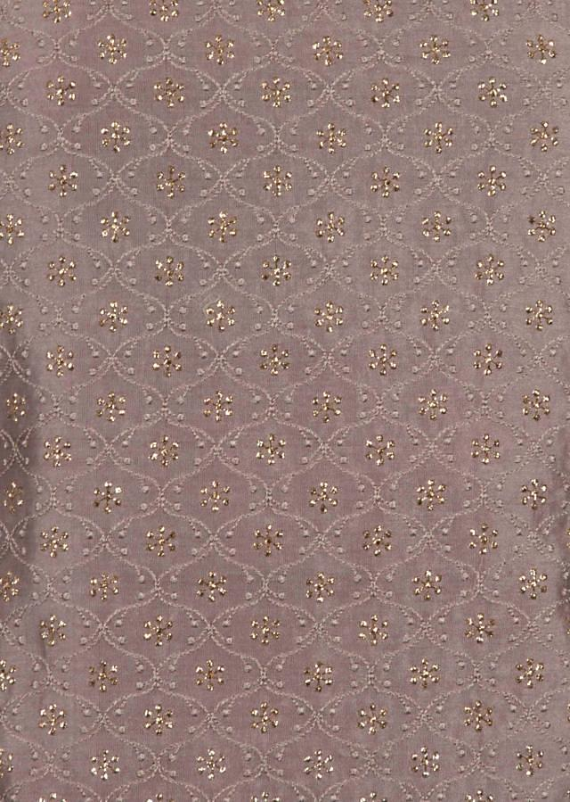 Sand grey unstitched suit in thread and zari embroidery only on Kalki