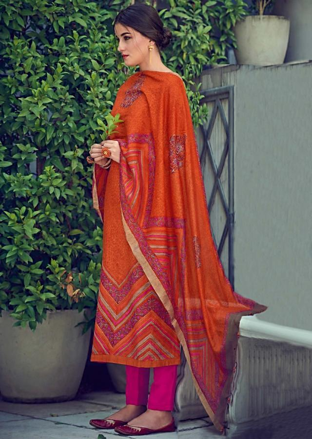 Sandstone Orange Suit In Tussar Silk With Floral Print Online - Kalki Fashions