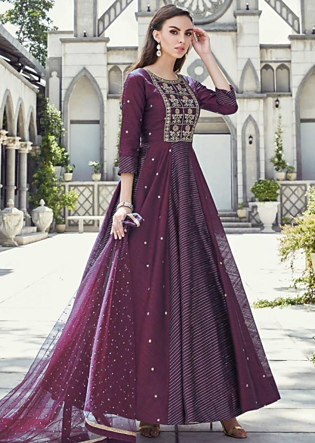 Sangria Purple Anarkali Suit In Raw Silk With Alternate Kali Online - Kalki Fashion