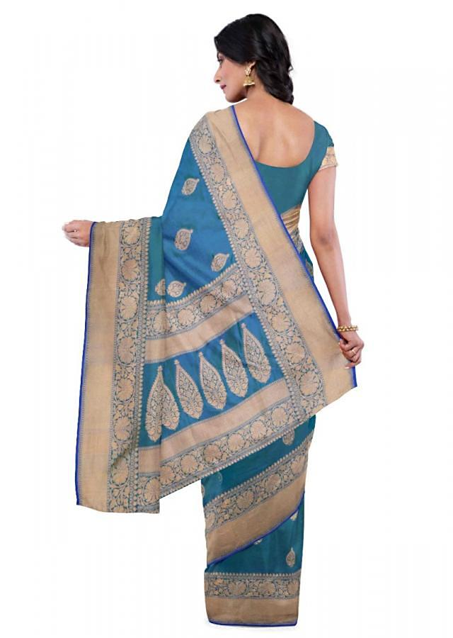 Sapphire blue two toned banarasi silk saree with matching blouse piece only on Kalki