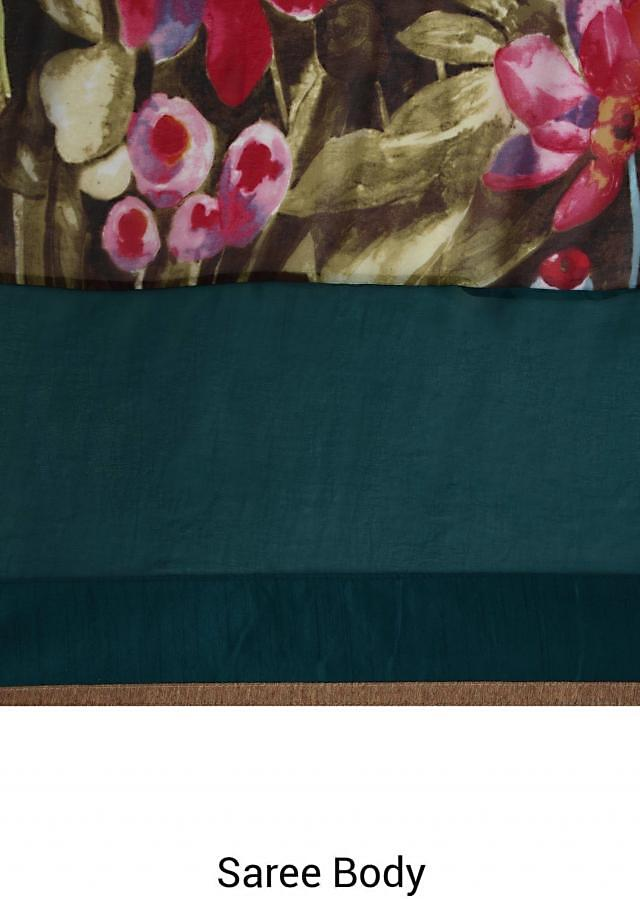 Saree in green and multi color printed panel only on Kalki