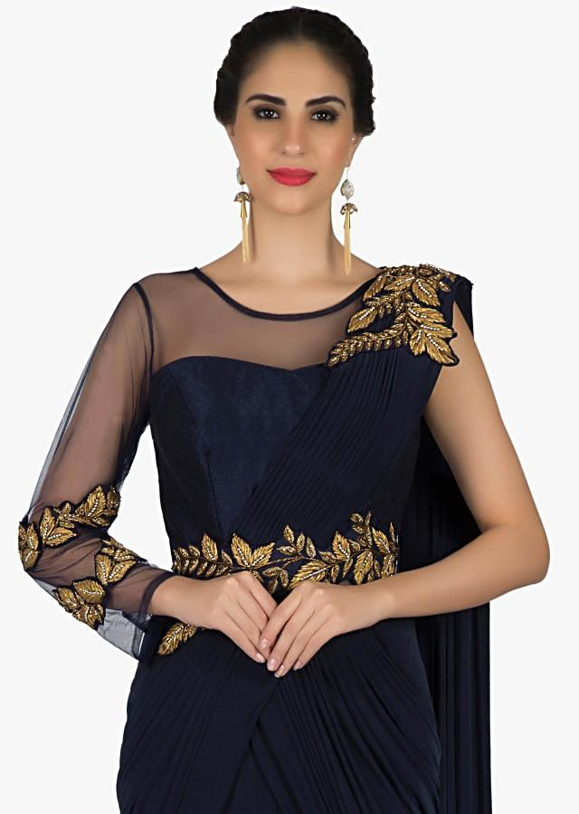 Saree gown in navy blue with pre stitched pallav and gotta lace embroidery only on Kalki