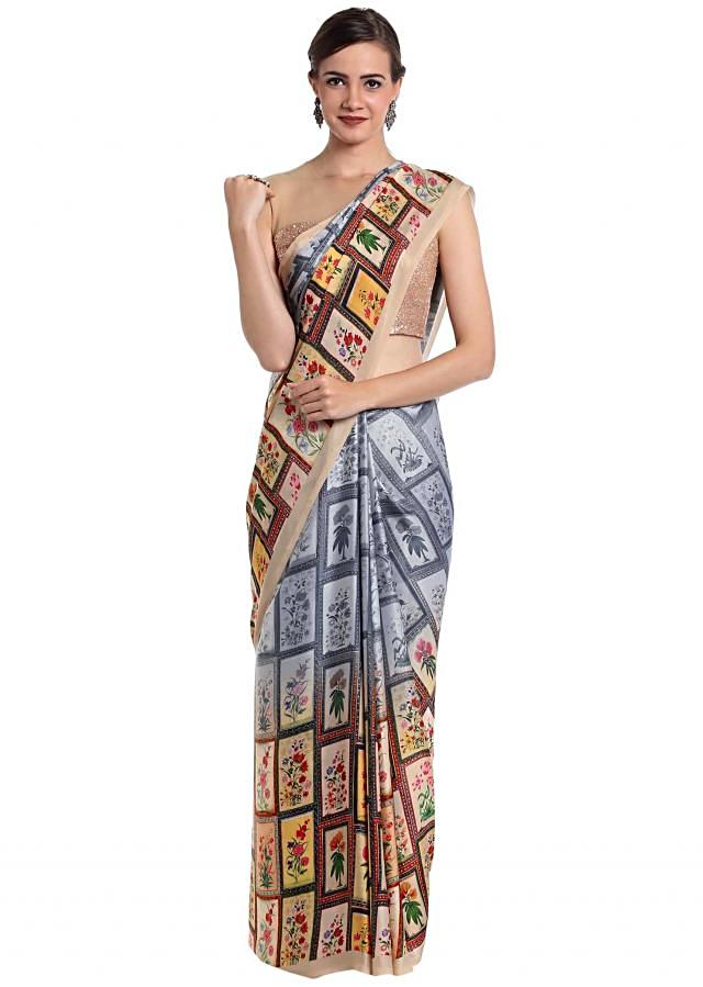 Satin crepe saree designed with multi-colored prints  only on Kalki