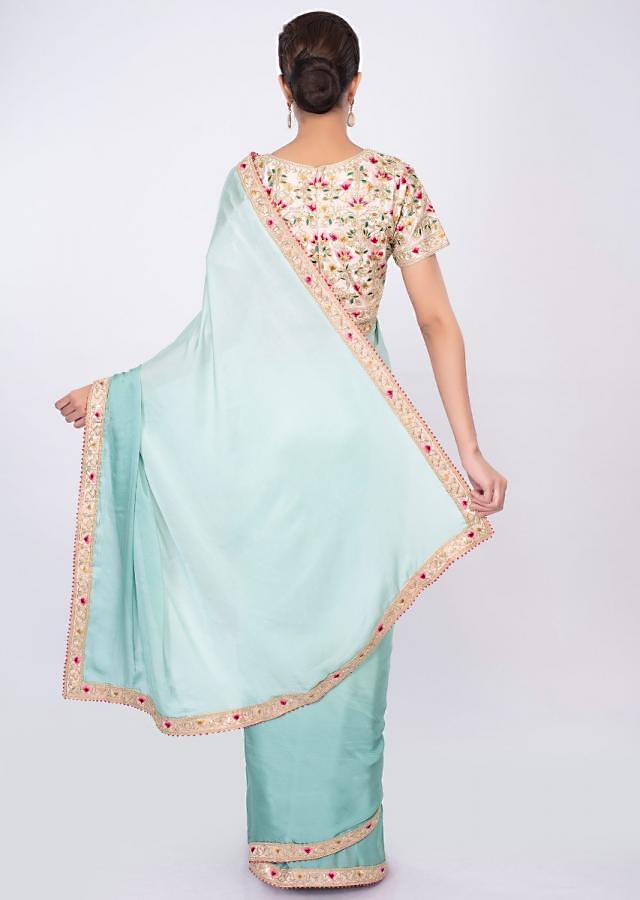 Blue Saree In Satin Crepe With Shaded Effect Online - Kalki Fashion