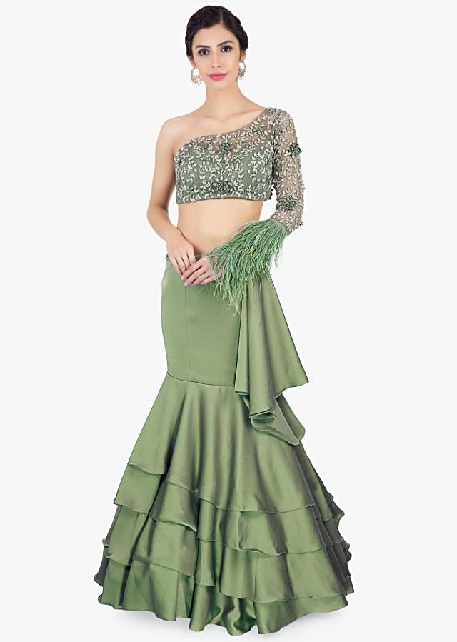 Green Fish Tail Layered Skirt In Satin Paired With One Shoulder Crop Top Online - Kalki Fashion