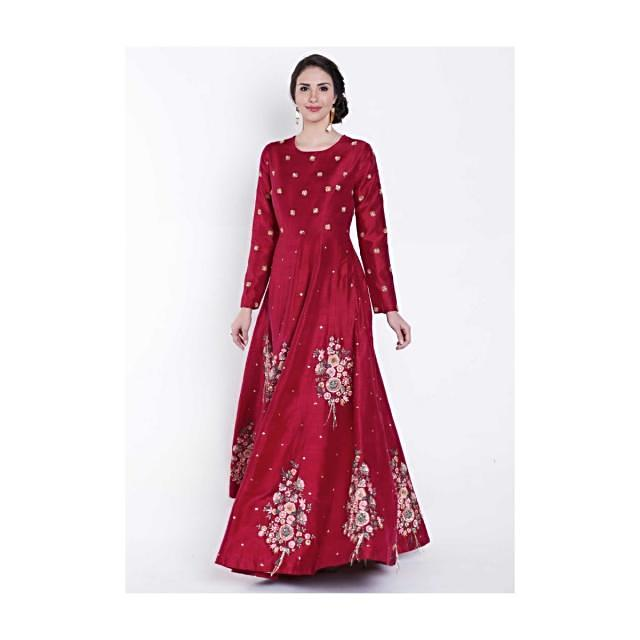 Maroon anarkali gown in resham and sequin embroidered butti only on Kalki