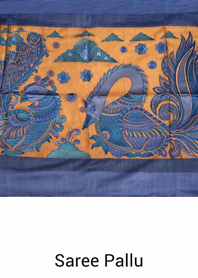Persian blue silk saree with bird motif kalamkari print only on Kalki