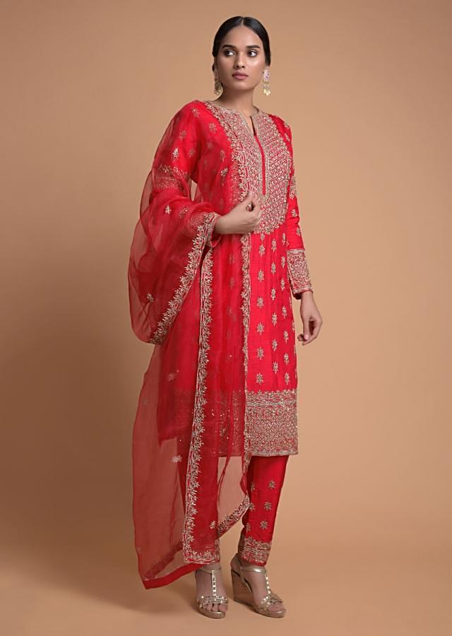 Scarlet Red Straight Cut Suit With Embroidered Placket And Buttis Online - Kalki Fashion