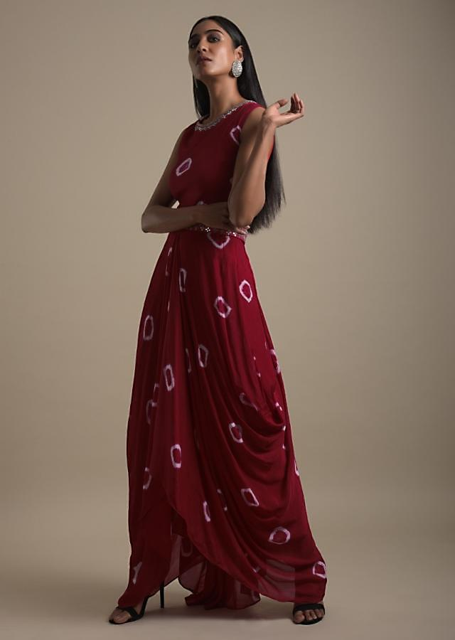 Scarlet Red Tunic Dress In Georgette With Cowl Drape And Tie Dye Printed Buttis Online - Kalki Fashion