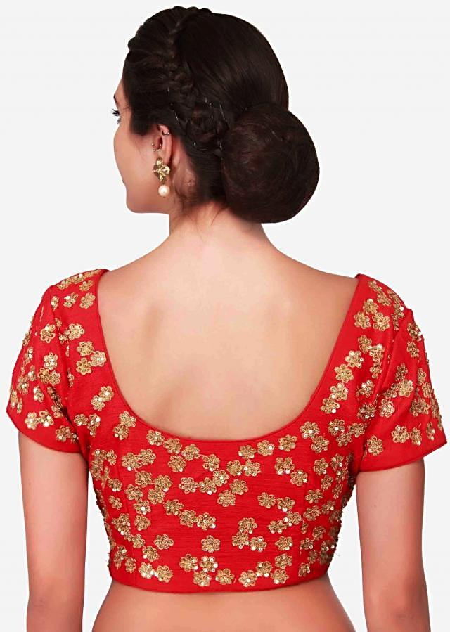 Scarlet red blouse embellished in sequin and zari only on Kalki