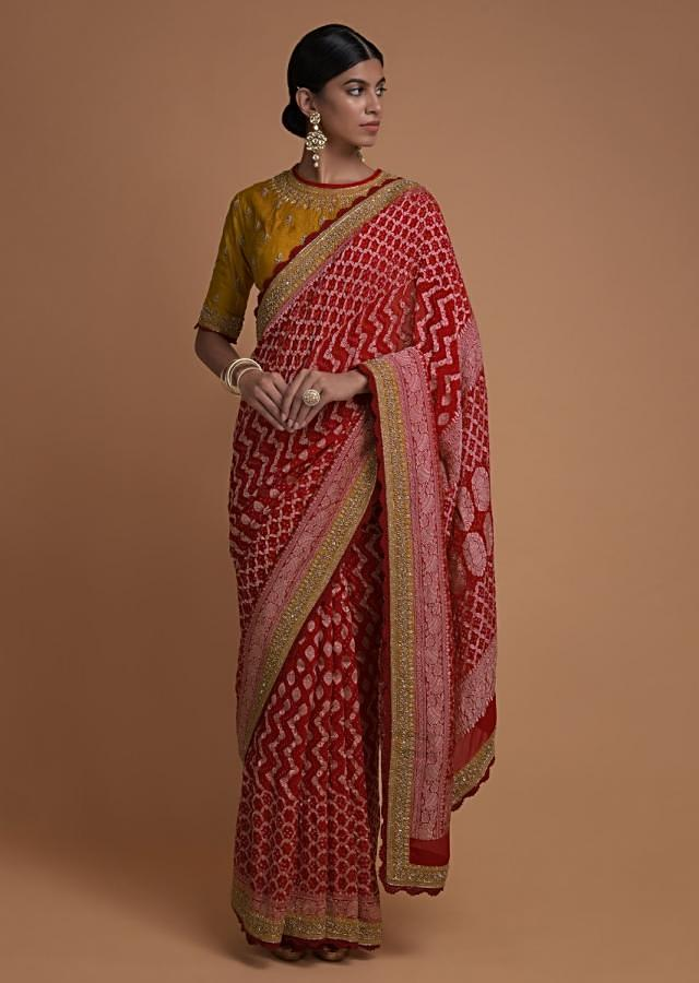 Scarlet Red Saree With Bandhani Print And Weaved Pattern Along With Mustard Blouse Online - Kalki Fashion