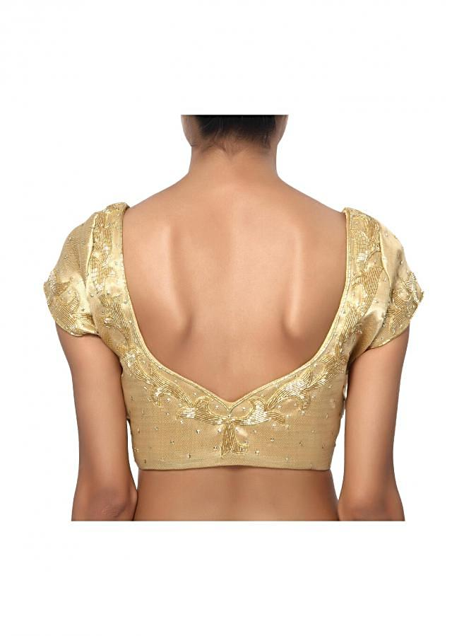 Scoop neck, mega sleeve gold blouse with beautiful edges