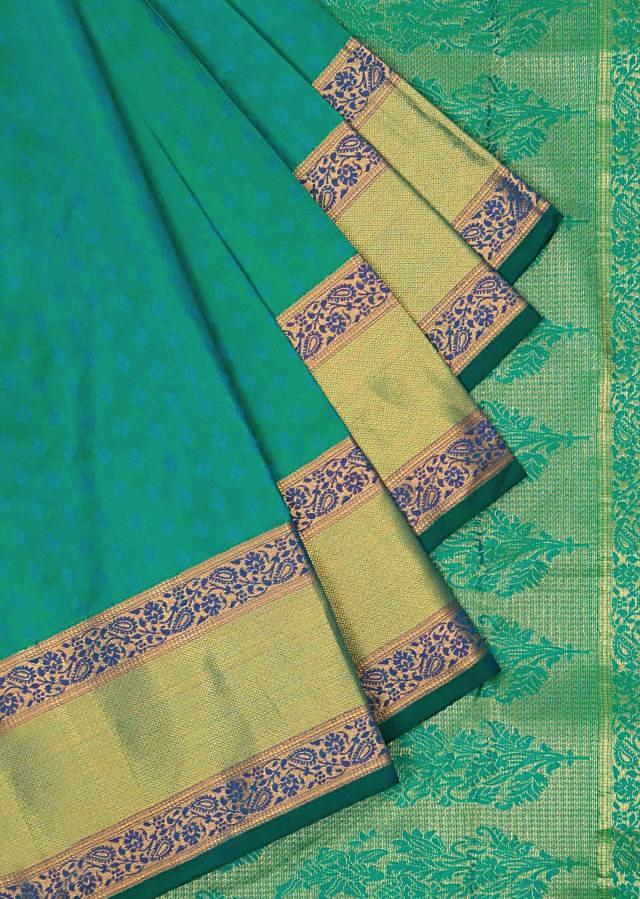Scuba blue saree in silk only on Kalki