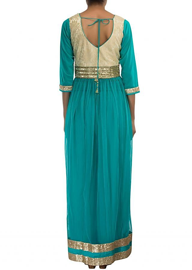 Sea blue anarkali suit featuring in sequin and kundan embroidery only on Kalki