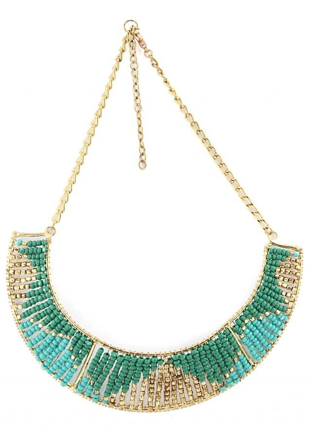 Sea blue and sea green moti embellished necklace only on Kalki