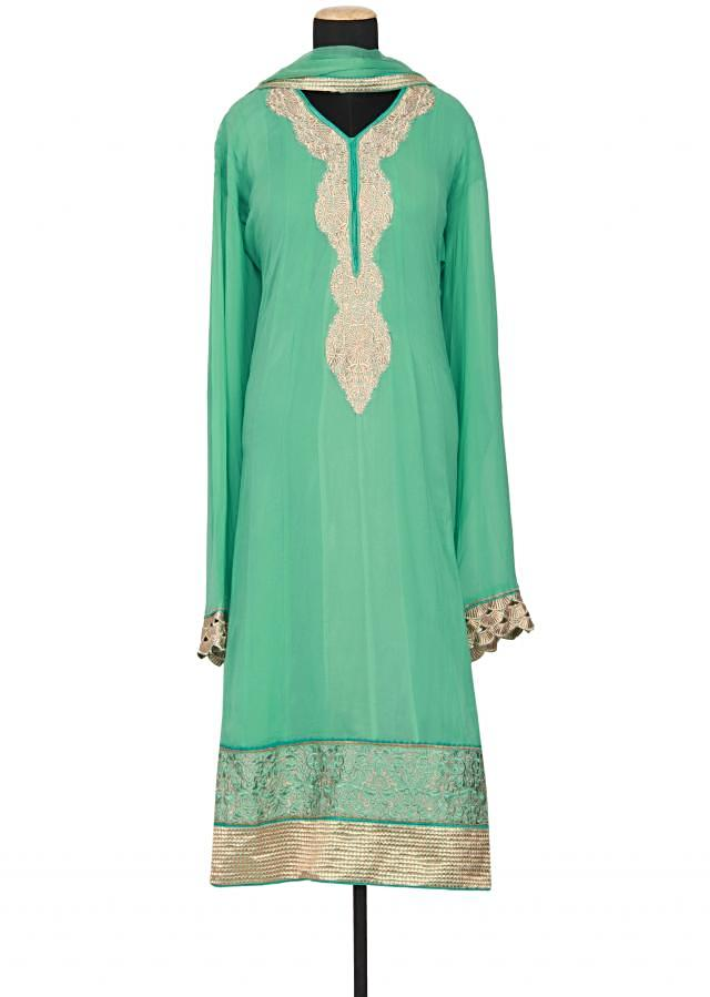 Sea blue chiffon semi-stitched salwar-kameez embellished in zari and sequin only on Kalki