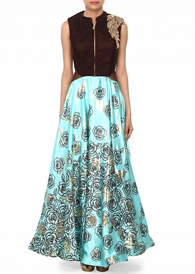 Sea Blue Dress Enhanced With Print And Zari Embroidery Online - Kalki Fashion