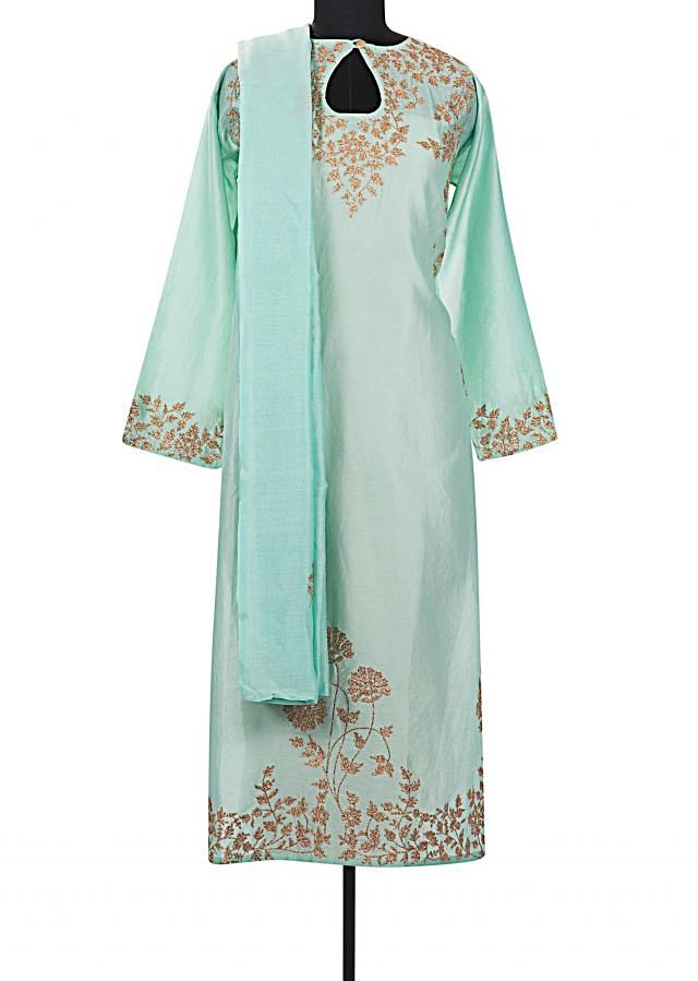 Sea blue semi stitched suit with embroidered yoke only on Kalki