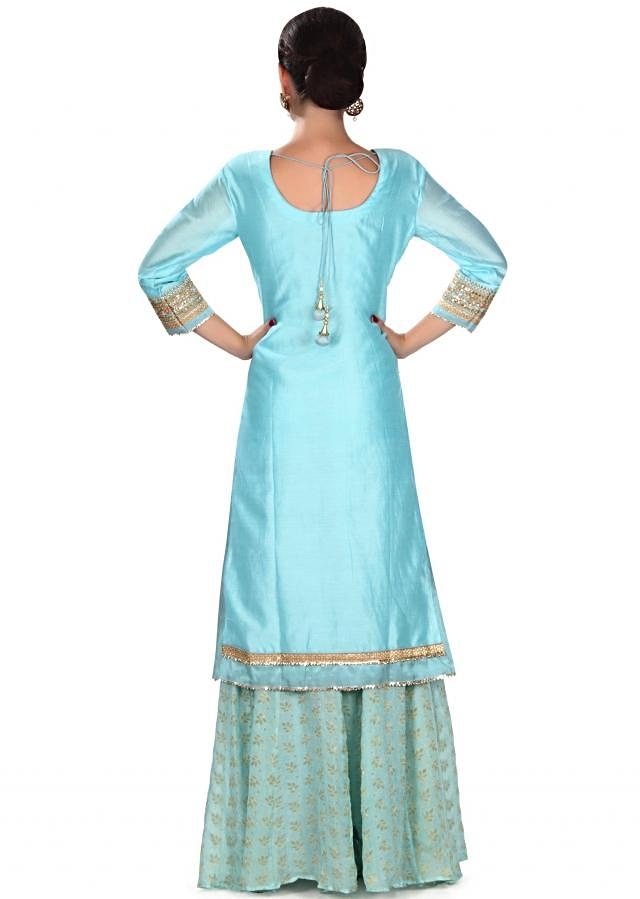 Blue straight suit in gotta patch embroidery only on Kalki