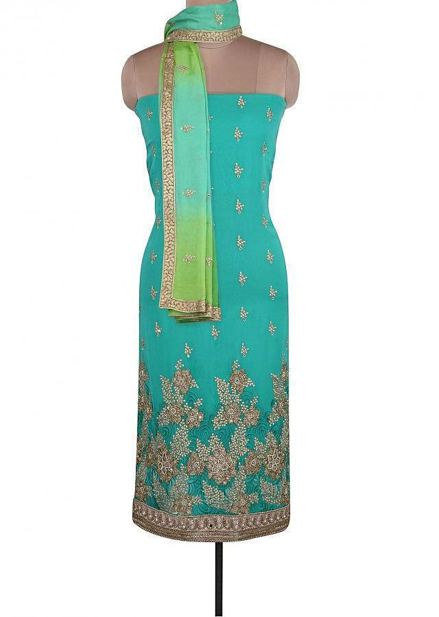 Sea Blue Unstitched Suit Adorn In Resham And Mirror Embroidery Only On Kalki