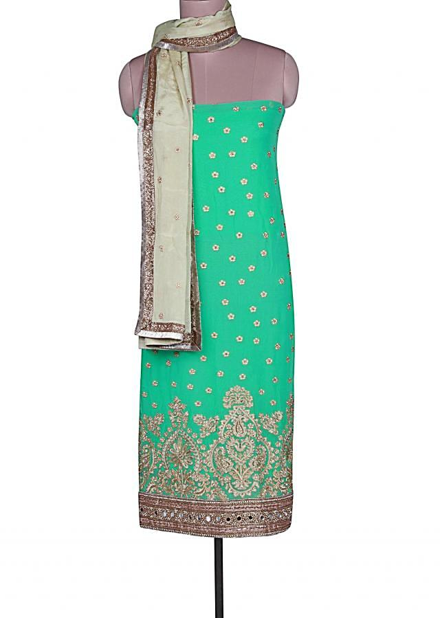 Sea blue unstitched suit adorn in resham and sequin embroidery only on Kalki