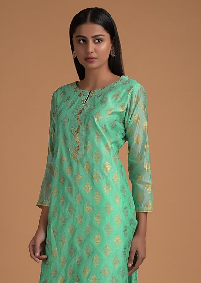 Sea Foam Green Palazzo Suit In In Cotton With Foil Printed Buttis Online - Kalki Fashion