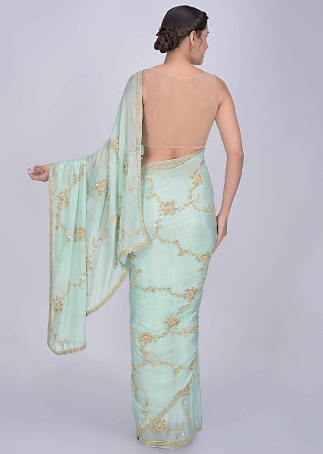 Sea Foam Green Saree In Shimmer Chiffon With Matching Blouse Piece Online - Kalki Fashion