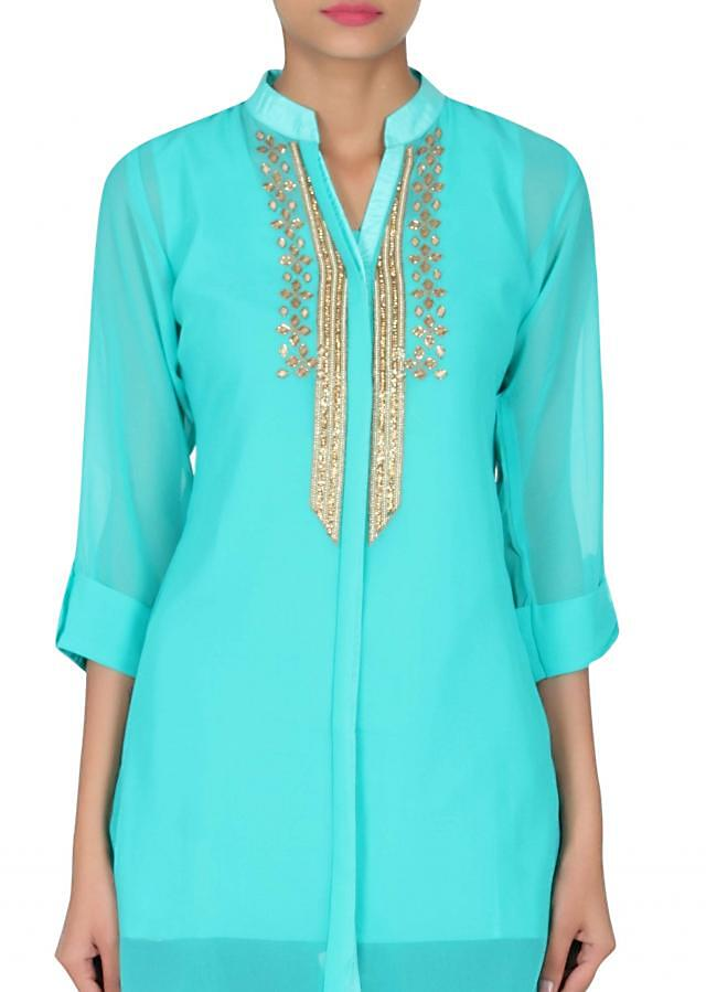 Sea green kurti adorn in resham and kundan embroidery only on Kalki