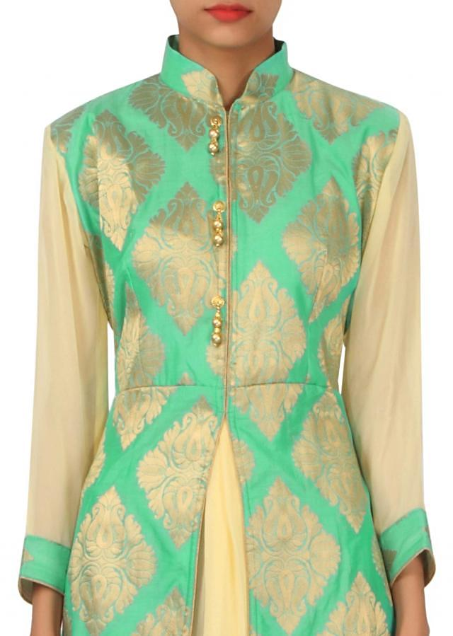 Sea green kurti features with center slit only on Kalki