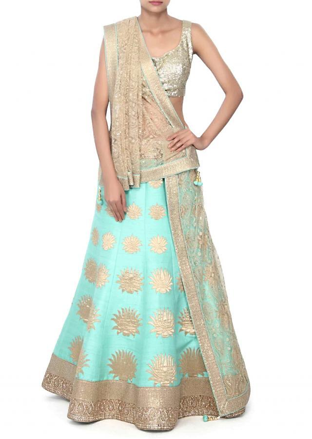 Sea green lehenga adorn in applique embridery only on Kalki