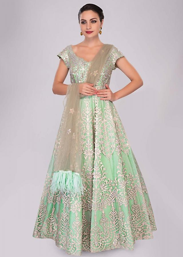 Sea green net anarkali in sequins embroidery and patch work only on Kalki