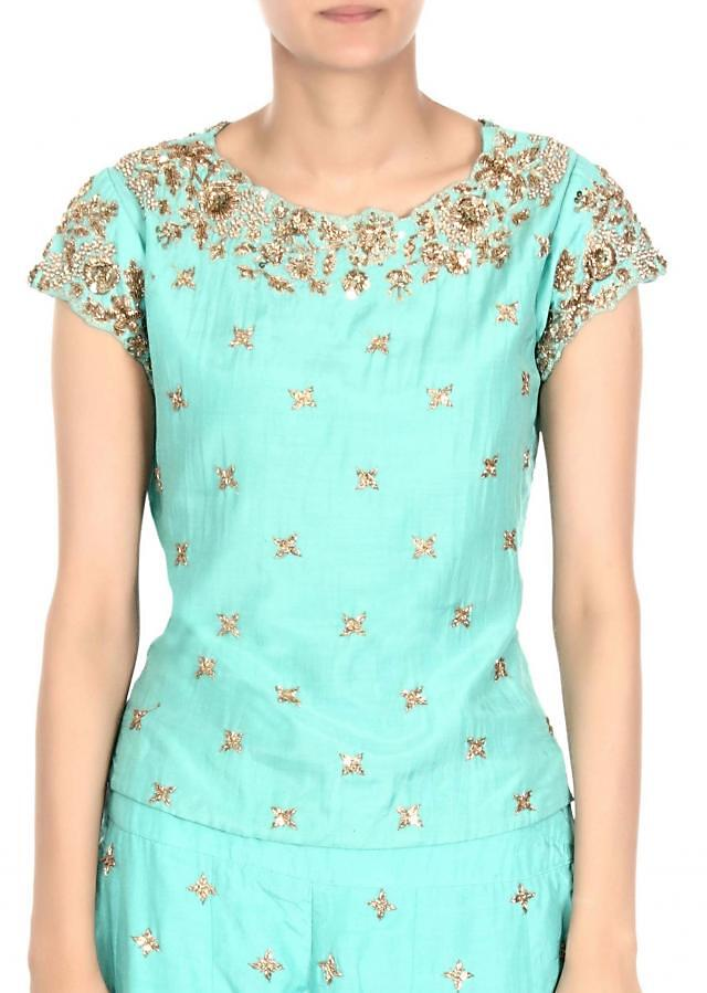 Sea green palazzo suit adorn in zardosi embroidery only on Kalki
