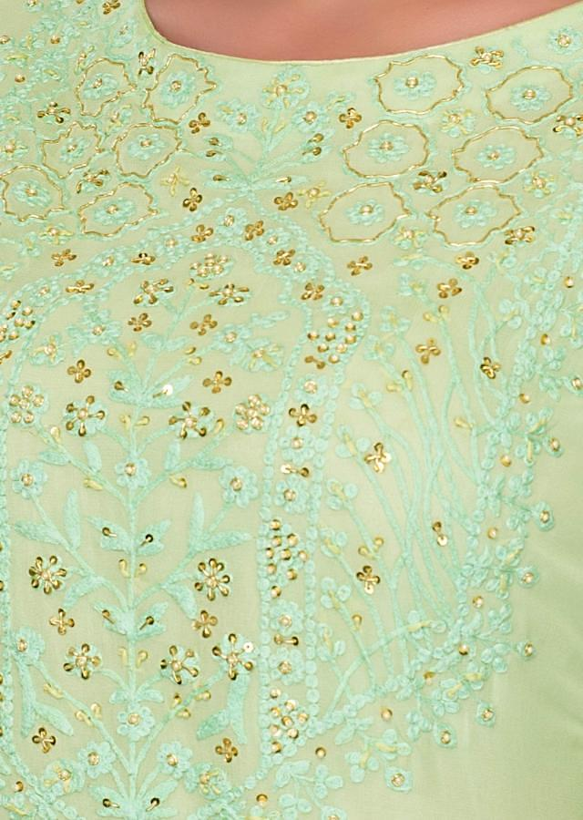 Sea Green Palazzo Suit In Self Thread Embroidery And Butti Online - Kalki Fashion