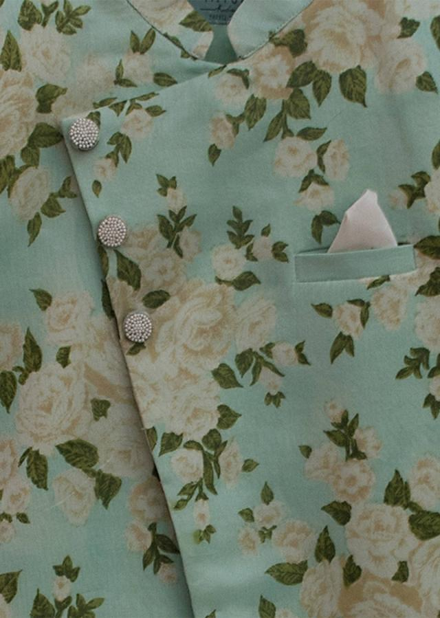 Sea Green Printed Assemtric Ajkan with churidar by Fayon Kids