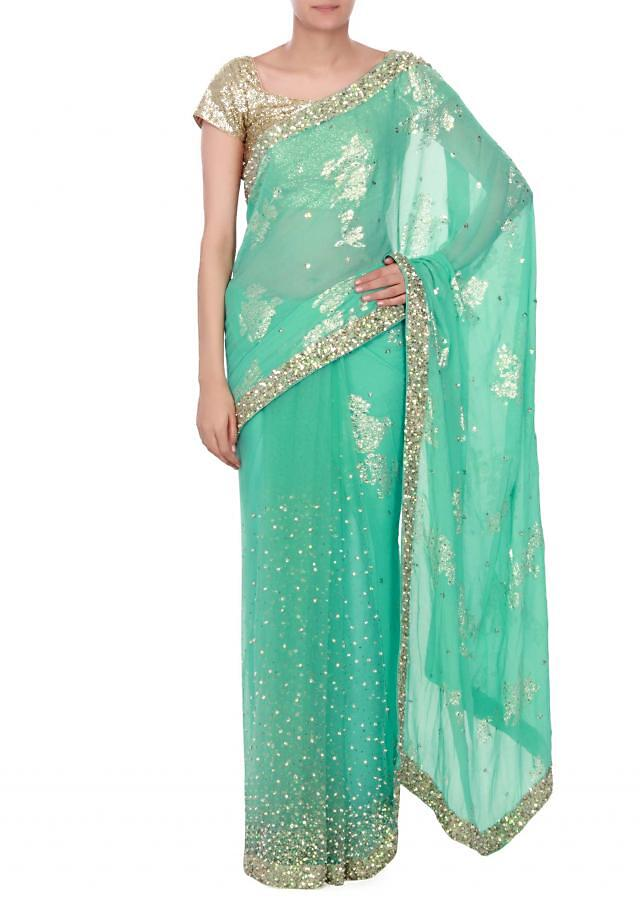 sea green saree with sequin border only on kalki
