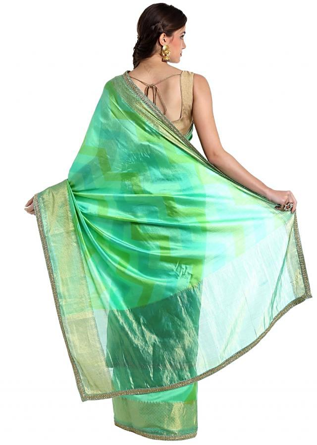 Sea green silk saree crafted with lurex border  only on Kalki