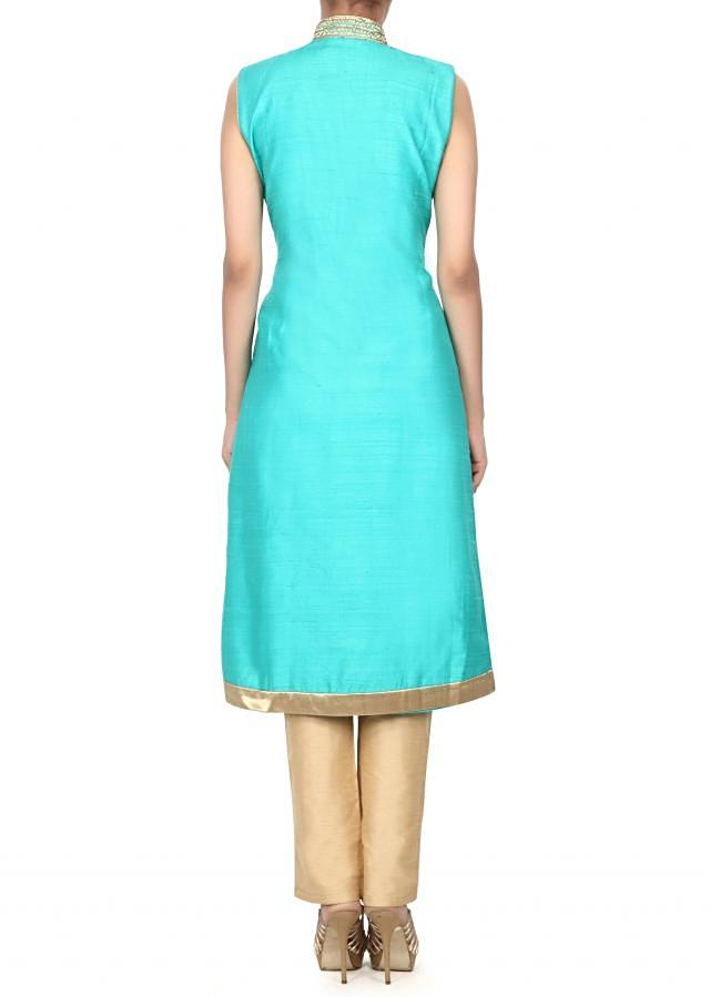 Sea green straight suit embellished in kundan and zari embroidery only on Kalki