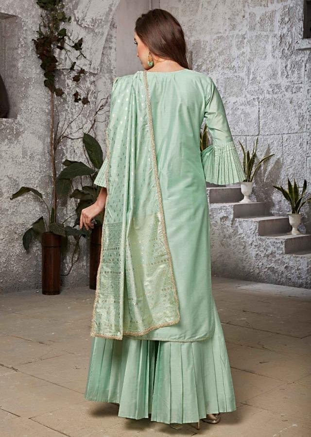 Sea green straight suit in silk adorn in zardosi and french knot embroidery