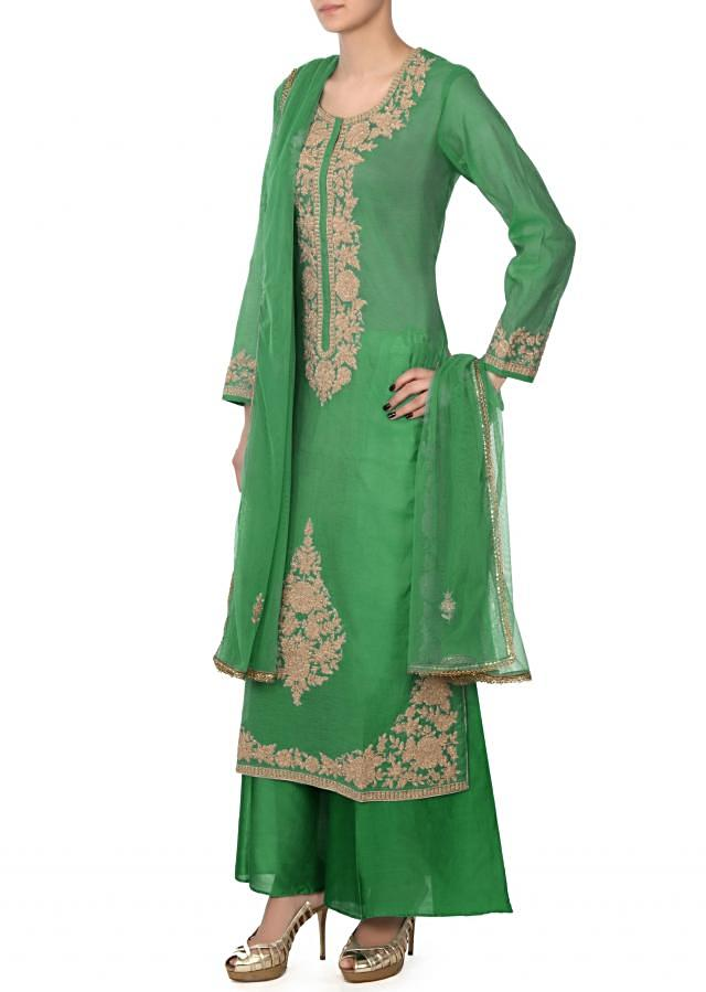 Sea green straight suit in zari embroidery only on Kalki