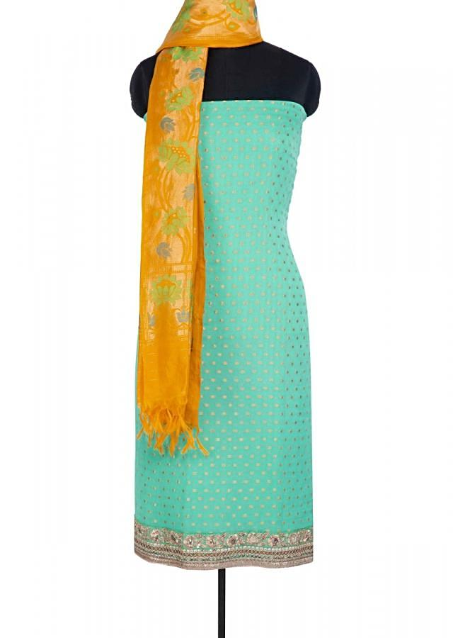 Sea Green Unstitched Suit In Georgette With Chrome Yellow Brocade Dupatta Online - Kalki Fashion