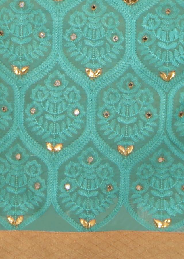 Sea green unstitched suit adorn in thread embroidery only on Kalki