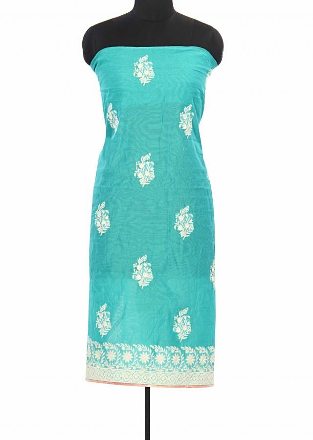 Sea green unstitched suit adorn in thread work only on Kalki