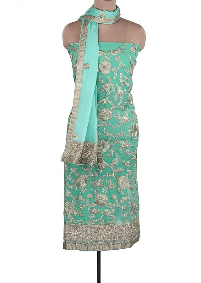 Sea Green Unstitched Suit Adorn In Zari And Pearl Embroidery Only On Kalki