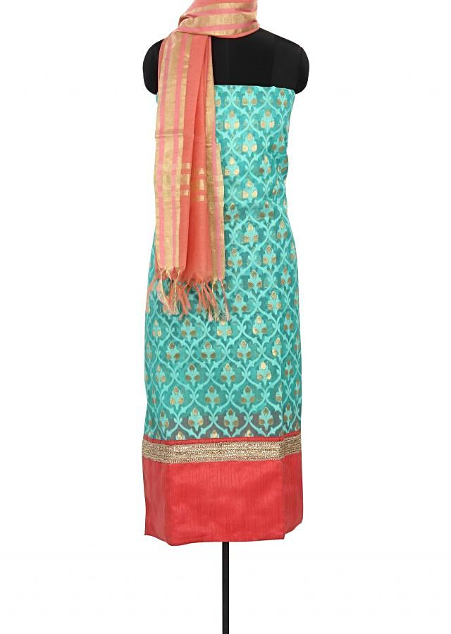 Sea green unstitched suit enhanced in weave only on Kalki